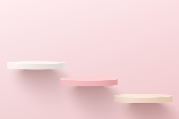 Abstraktes weißes und rosafarbenes 3d-zylindersockelpodest, das auf luft schwimmt. pastellrosa minimale wandszene für die präsentation von kosmetikprodukten, showcase. vektorgeometrisches rendering-plattformdesign.