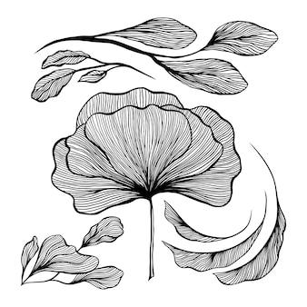 Abstraktes wellenschwarzweiss-linienkunstdekorationsset für tapeten- und wandkunstdesign.
