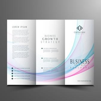Abstraktes welliges trifold-broschüre-design