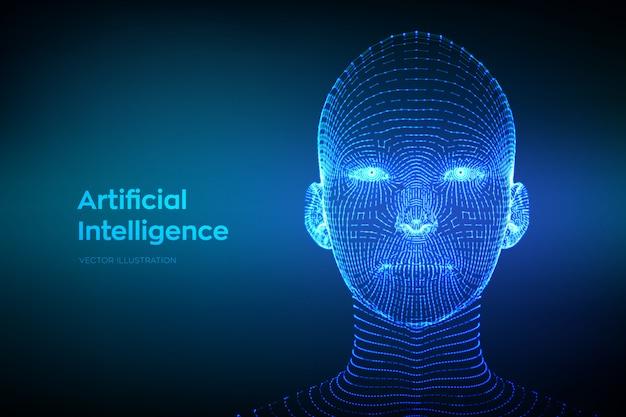 Abstraktes wireframe digitales menschliches gesicht. ai. künstliche intelligenz-konzept.