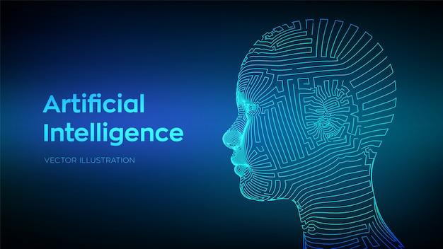 Abstraktes wireframe digitales menschliches gesicht. menschlicher kopf in der robotercomputerinterpretation.
