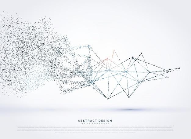Abstraktes wireframe-poly-mesh-netzwerk, das in partikeln verblasst
