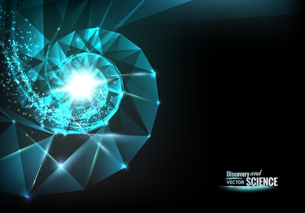 Abstraktes wissenschaftliches design mit spiralpolygonen und dreiecken.