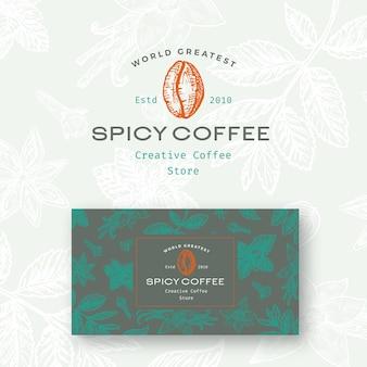 Abstraktes würziges kaffee-logo und visitenkartenschablone.