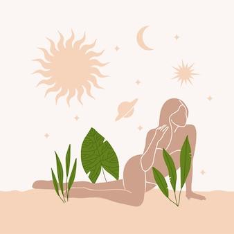 Abstraktes wüstenplakat des mädchens, das sich zwischen pflanzen, sonne und mond im boho-stil niederlegt