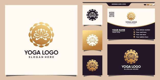Abstraktes yoga-logo mit einzigartigem blumenkonzept und visitenkarte