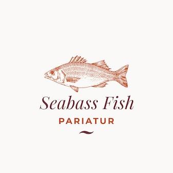Abstraktes zeichen, symbol oder logo-vorlage des seebarschfisches.