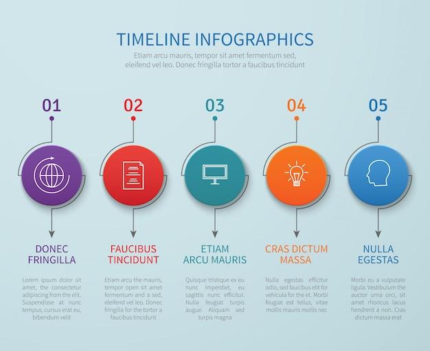 Abstraktes zeitachsenvektor infografiken mit geschäftsprozessschritten