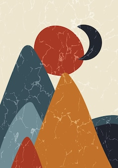 Abstraktes zeitgenössisches poster aus der mitte des jahrhunderts mit geometrischen formen und textur. design für tapete, hintergrund, wanddekoration, cover, druck, karte. moderne minimalistische boho-kunst. vektor-illustration.