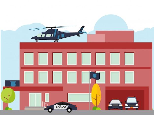 Abteilungsgebäude der stadtpolizei mit hubschrauber und polizeiauto
