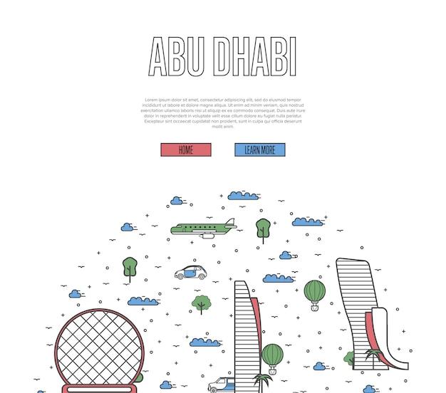 Abu dhabi reisen tour vorlage im linearen stil