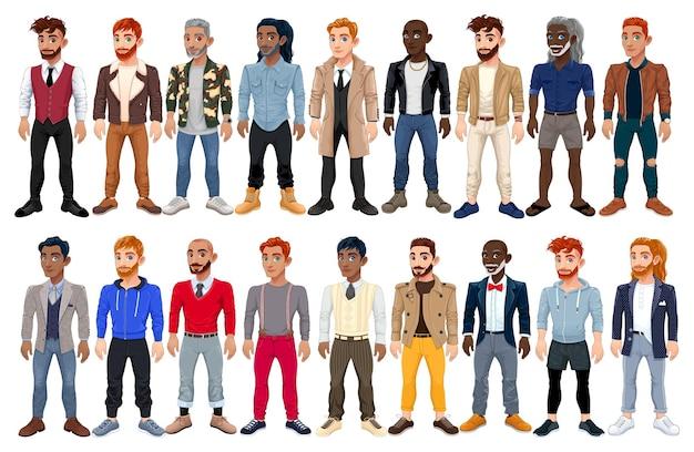 Abwechslungsreiche männliche mode-avatar. vektorzeichentrickfiguren mit verschiedenen kleidern, schuhen und frisuren. sie sind alle austauschbar.