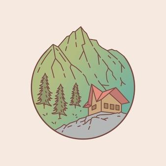 Abzeichen des hauses in einer bergigen gebietsillustration