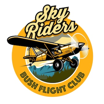 Abzeichen-design des buschflugzeug-clubs