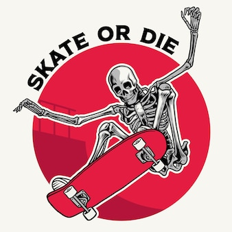 Abzeichen-design mit totenkopf, der trick mit skateboard macht