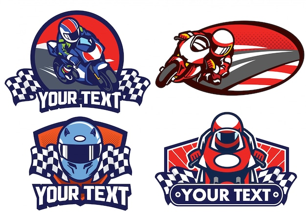 Abzeichen design motorradrennen