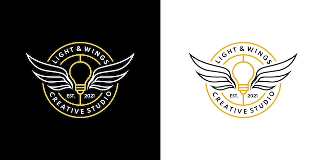 Abzeichen emblem lichtflügel monoline logo licht engel logo designkonzept