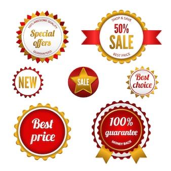 Abzeichen, etiketten und aufkleber mit verschiedenen aufschriften im einzelhandel. in roten farben gestaltet.