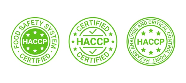 Abzeichen für lebensmittelsicherheitssysteme. haccp-zertifizierter aufkleber. vektor-illustration.