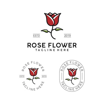 Abzeichen-logoentwurf rosen-blume einfacher