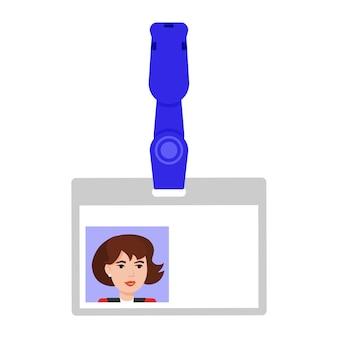 Abzeichen mit anmeldeinformationen. ausweisdokument oder karte mit frauenbild. isolierte vektorillustration