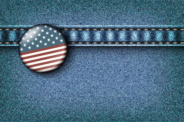 Abzeichen mit der amerikanischen flagge auf der jeansstruktur