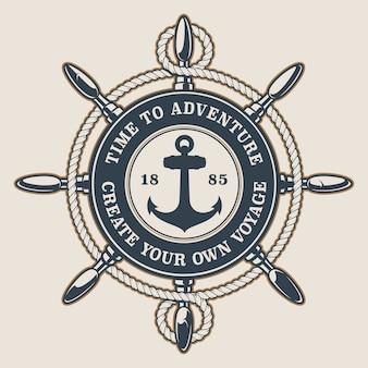 Abzeichen mit schiffsrad und anker und seil auf hellem hintergrund. der text befindet sich in einer separaten gruppe.