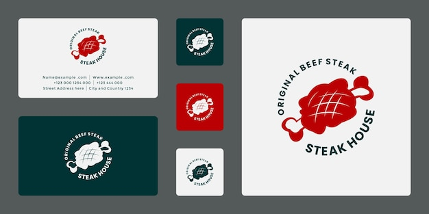 Abzeichen-restaurant-steakhaus-logo-design-vektor mit visitenkartenvorlage