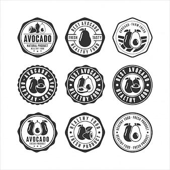 Abzeichen stempel avocado design-sammlung