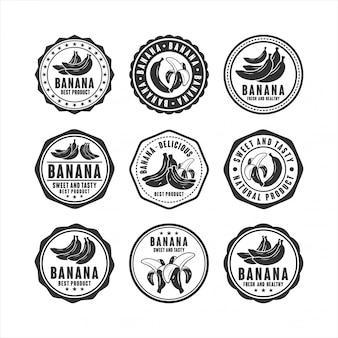 Abzeichen stempelt banane köstliche designkollektion