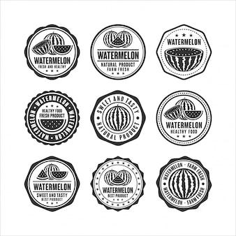 Abzeichen stempelt wassermelonen-designkollektion