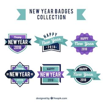 Abzeichenabzeichen des neuen jahres 2018 in lila und in blauem