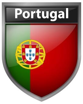 Abzeichendesign für die flagge von portugal