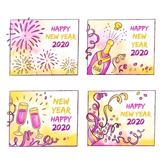 Abzeichensammlung des neuen jahres 2020 des aquarells