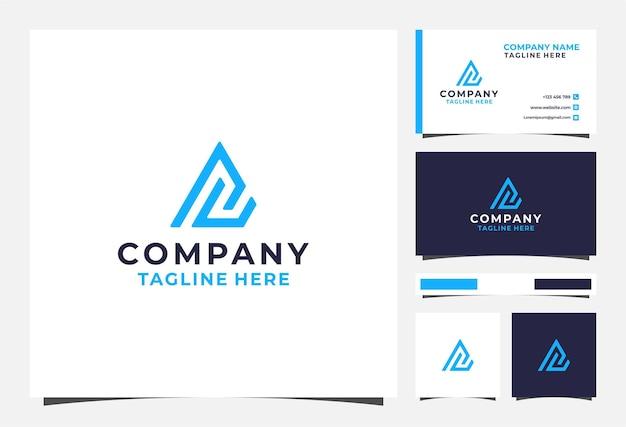 Ac-buchstaben-dreieck-logo und visitenkarte