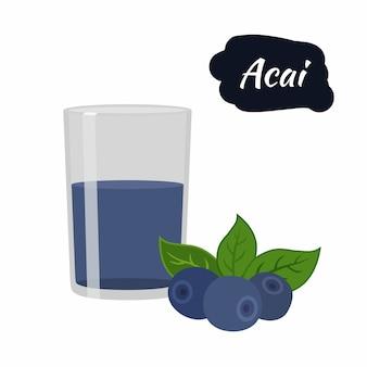 Acai-beere mit getränk im glas