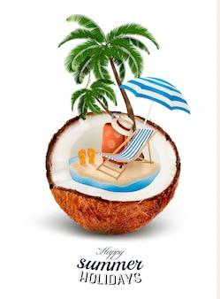 Acation-konzept. palme, koffer und regenschirm in einer kokosnuss.