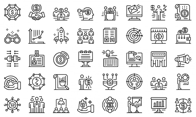 Account manager icons set, umriss-stil
