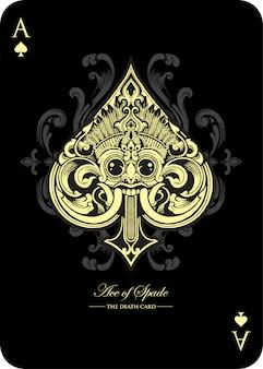 Ace of spade spielkarten-design inspiriert von barong bali