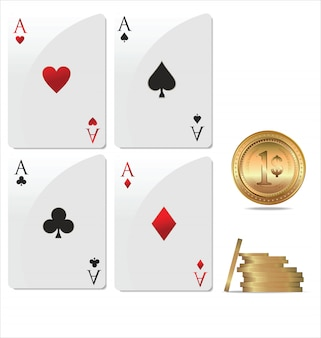 Ace poker mit goldenen pokerchips