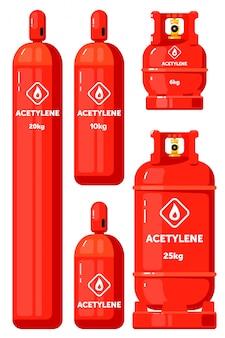 Acetylen-gasbehälter auf weiß eingestellt