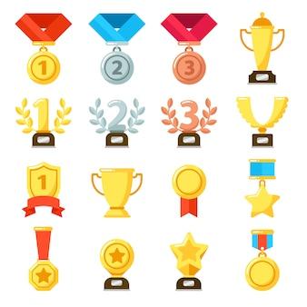 Achievement award, achiever trophy, achievements ribbon medal star-symbol