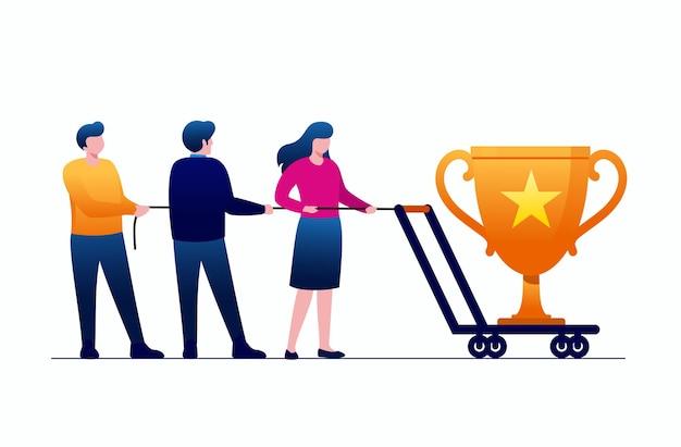 Achievement-trophäe und belohnung. teamwork, charakter, vektor, illustrationsbanner und zielseite