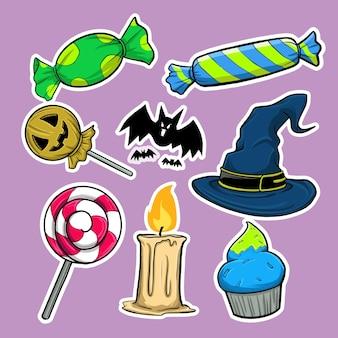 Acht abbildungen von gegenständen, die für halloween-events ein muss sind