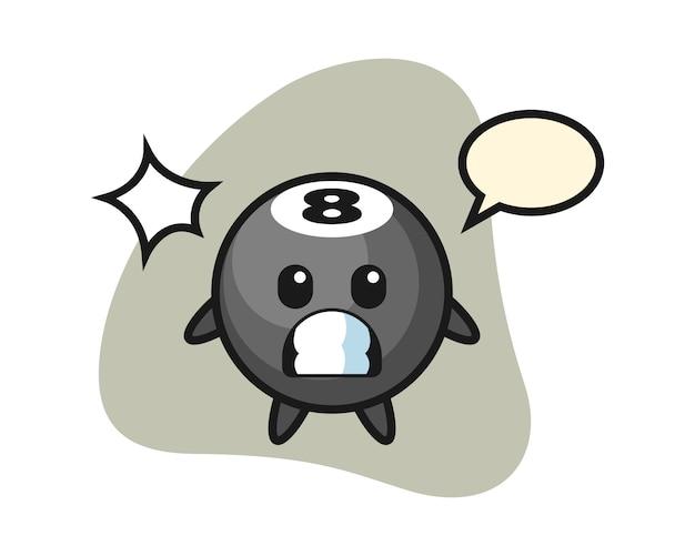 Acht ball billard cartoon mit schockierter geste