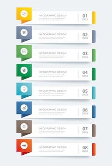 Acht daten infografiken registerkarte papier indexvorlage.