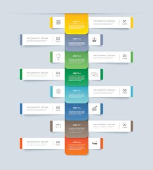 Acht datenschritt infografiken timeline tab papier indexvorlage.