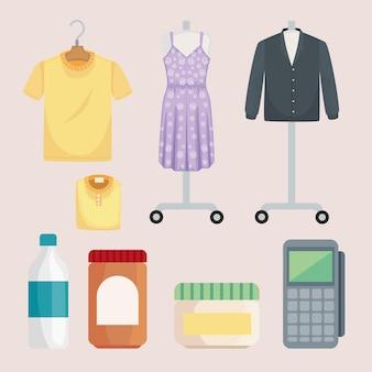 Acht einkaufsmarkt-symbole