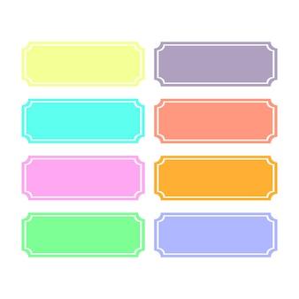 Acht farbige vorlagen für die beschriftung. weißer hintergrund.