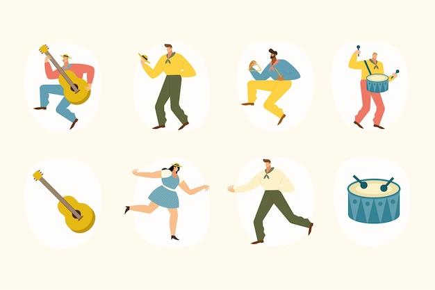 Acht fiesta junina set ikonen illustration